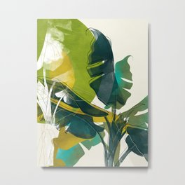 banana palm leaves nature boho life Metal Print