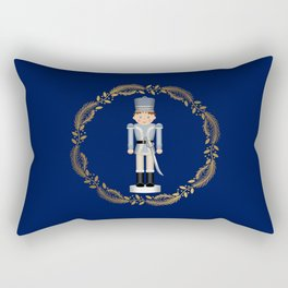 The Nutcracker Christmas Special - Toy Soldier Nutcracker in Golden Christmas Wreath (Royal Blue)  Rectangular Pillow