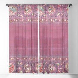 Shakhrisyabz  Southwest Uzbekistan Suzani Embroidery Print Sheer Curtain