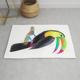 Colorful Tropical Toucan Watercolor Painting , Birds Collection  Rug