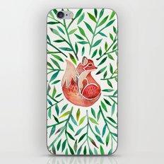 Woodland Fox – Green Leaves iPhone Skin