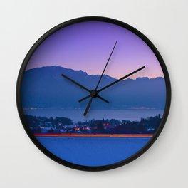 Mountainscape At Sunset Over Geneva Lake Wall Clock