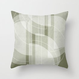 Abstract Semi Circle Design in Sage Green Throw Pillow