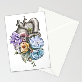 Blue Floral Heart Stationery Cards