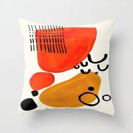 Fun Abstract Minimalist Mid Century Modern Yellow Ochre Orange Organic Shapes & Patterns Throw Pillow