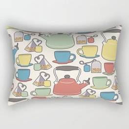 Colorful tea set pattern of a kettle, tea cups, and tea bags in green, yellow, red and blue with white background Rectangular Pillow