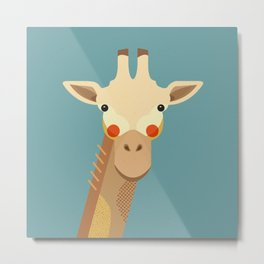 Giraffe, Animal Portrait Metal Print