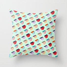 Cute smiling mugs pattern Throw Pillow