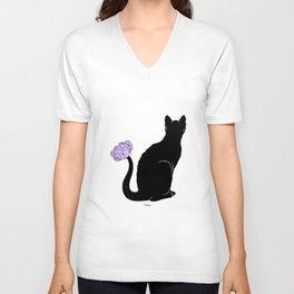 Flower Cat Purple Unisex V-Neck