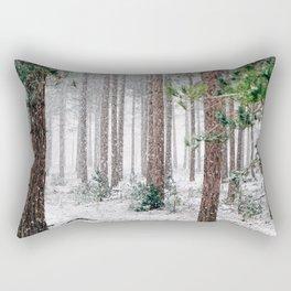 Snowy Pine trees Rectangular Pillow