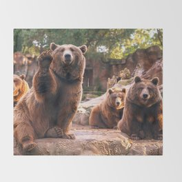 Spectecular Group Gracious Grizzly Bears Sitting In Habitat Waving At Camera Ultra HD Throw Blanket