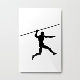 Silhouette of a running man with a spear Metal Print