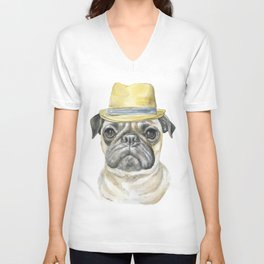 Pug with Fedora Hat Watercolor Unisex V-Neck