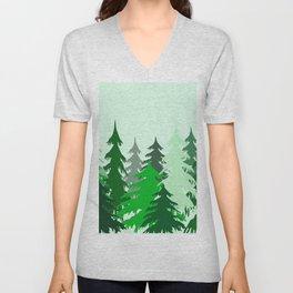 Black Forest Christmas Trees Unisex V-Neck