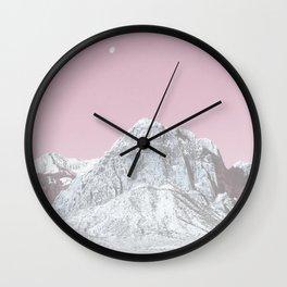 Mojave Pink Sky // Red Rock Canyon Las Vegas Desert Landscape Snowstorm Moon Mountains Wall Clock