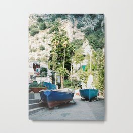 """Travel photography print """"Boats on the amalfi coast"""" - made in italy. Sunny, colorful photo Metal Print"""