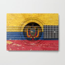 Old Vintage Acoustic Guitar with Ecuadorian Flag Metal Print
