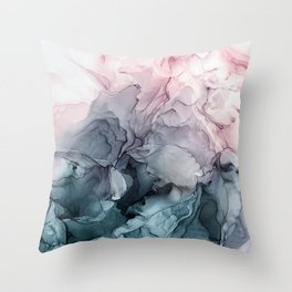 Blush and Payne's Grey Flowing Abstract Painting Deko-Kissen
