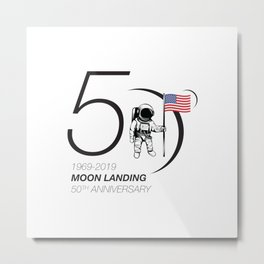 Moon landing 50th year anniversary Metal Print