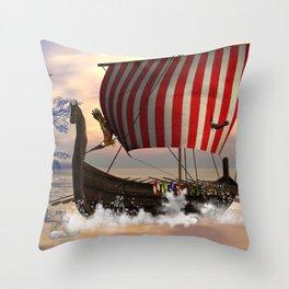 The  viking longship Throw Pillow