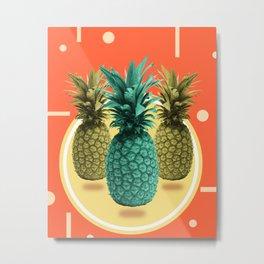 Pineapple Print - Tropical Decor - Botanical Print - Pineapple Wall Art - Orange, Blue - Minimal Metal Print