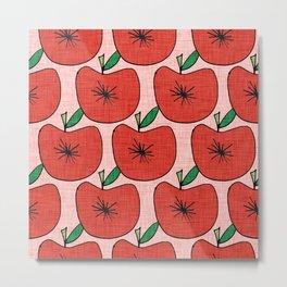 Pop Fruit Apple Pink Metal Print