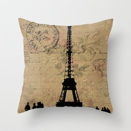 EIFFEL TOWER FRENCH COLLAGE Throw Pillow