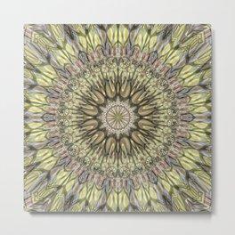 Mandala in cream yellow and lots of details Metal Print
