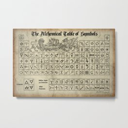 The Alchemical Table of Symbols Metal Print