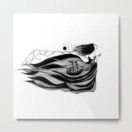 Inktober Flowing Metal Print