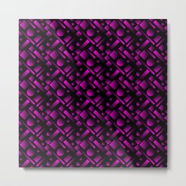 Geometric volumetric design with circles and violet rectangles from stripes. Metal Print