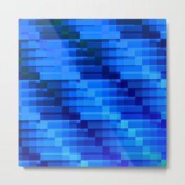 Buildings At Night In Blue Modern Abstract Metal Print