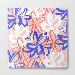 Lotus Garden Painted Abstract Floral Pattern in Bright Blue, Coral, and White on Blush Pink Metal Print