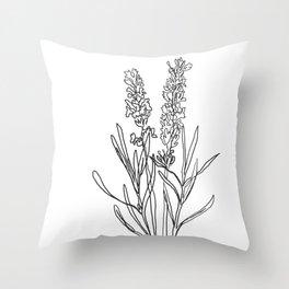 Lavender botanical minimalist line art Throw Pillow