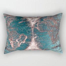 Antique World Map Pink Quartz Teal Blue by Nature Magick Rectangular Pillow