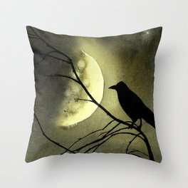 Crow Moon Throw Pillow
