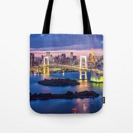 Amazing Rainbow Bridge Across Tokyo Bay At Romantic Evening Red Japan Asia Ultra HD Tote Bag