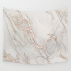 Marble Rose Gold Blush Pink Metallic by Nature Magick Wall Tapestry