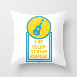 Eat Sleep Strum Repeat Ukulele Hawaiian Musician Banjo Soprano Uke Throw Pillow