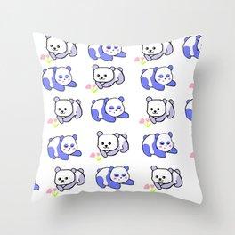 Sleepy panda and flower panda Throw Pillow