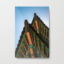 단청 Korean traditional multicolored paintwork on wooden buildings Metal Print