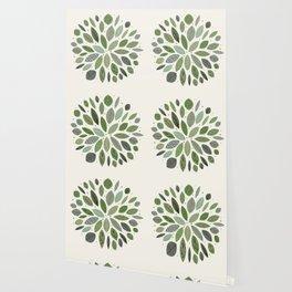 Mid-Century Green Leaves Wallpaper
