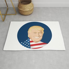 Portrait of Trump with US flag Rug
