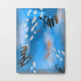 Bright Blue Abstract Painting Metal Print