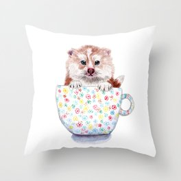 Baby Pomsky in Teacup Throw Pillow