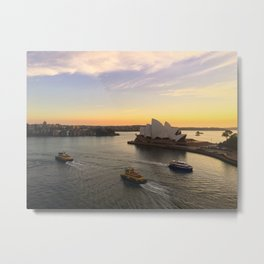Early Morning Sydney Opera House And Ferries Metal Print