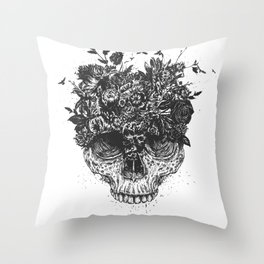 My head is a jungle (b&w) Throw Pillow