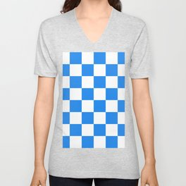 Large Checkered - White and Dodger Blue Unisex V-Neck