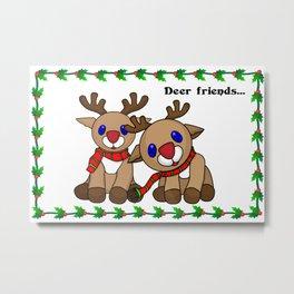 Deer friends holiday greetings Metal Print