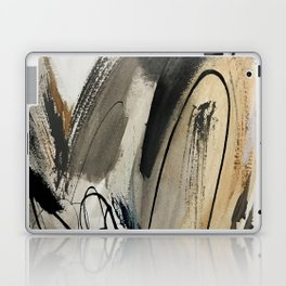 Drift [5]: a neutral abstract mixed media piece in black, white, gray, brown Laptop & iPad Skin